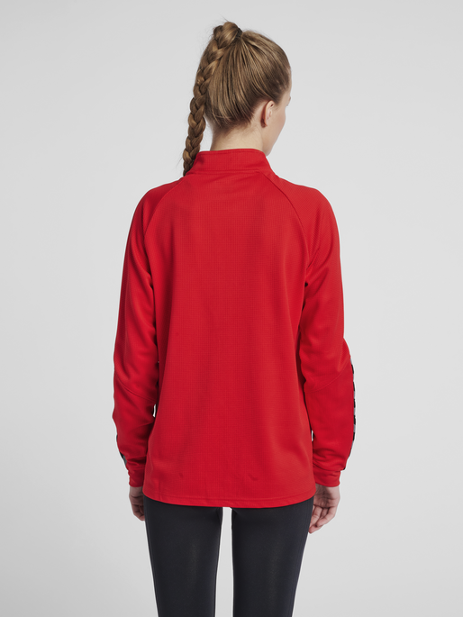 hmlAUTHENTIC WOMEN POLY ZIP JACKET, TRUE RED, model