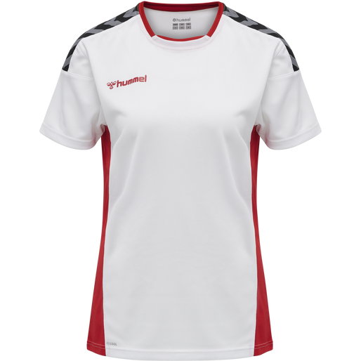 hmlAUTHENTIC POLY JERSEY WOMAN S/S, WHITE/TRUE RED, packshot