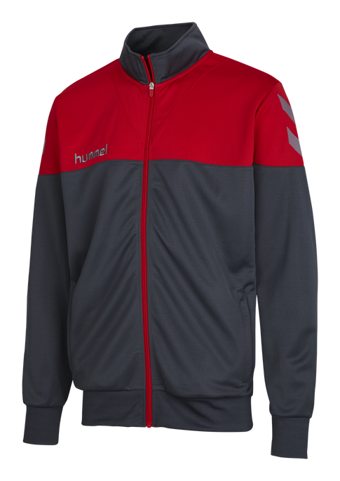 HUMMEL SIRIUS POLY JACKET, DARK SLATE/TRUE RED, packshot