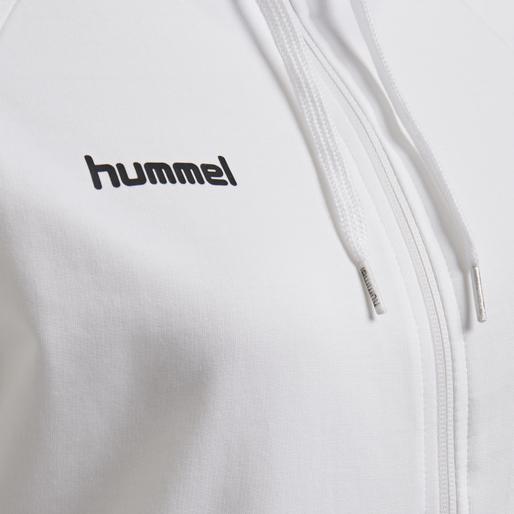 HUMMEL GO COTTON ZIP HOODIE WOMAN, WHITE, packshot