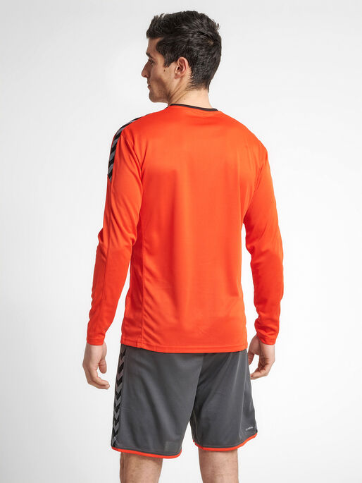 hmlAUTHENTIC POLY JERSEY L/S, FIRE RED, model