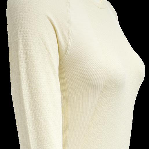 hmlCLEA SEAMLESS T-SHIRT L/S, BONE WHITE, packshot