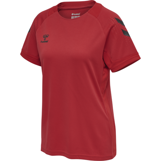hmlLEAD S/S POLY JERSEY WOMEN, TRUE RED, packshot