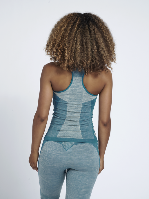hmlCLEA SEAMLESS TOP, BLUE CORAL/MARSHMALLOW, model
