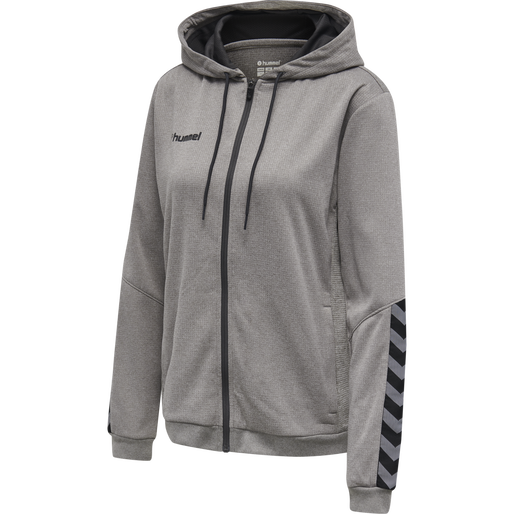 hmlAUTHENTIC POLY ZIP HOODIE WOMAN, GREY MELANGE, packshot