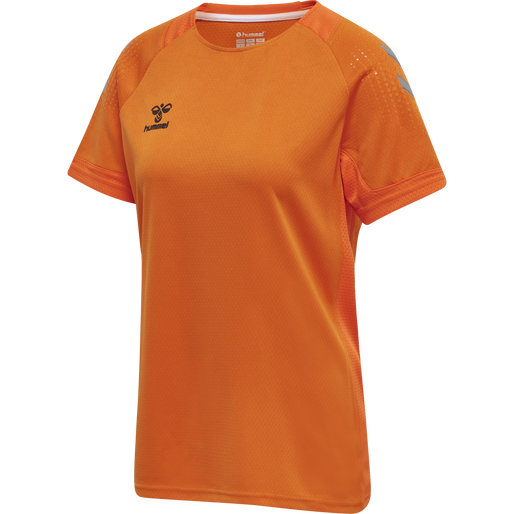 hmlLEAD S/S POLY JERSEY WOMEN, ORANGE TIGER, packshot