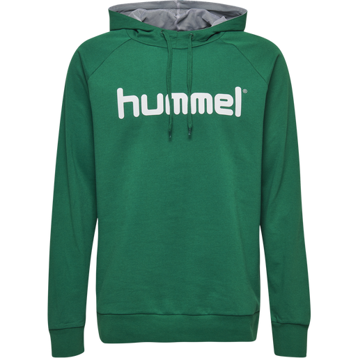 HUMMEL GO COTTON LOGO HOODIE, EVERGREEN, packshot