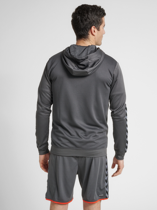 hmlAUTHENTIC POLY ZIP HOODIE, ASPHALT, model