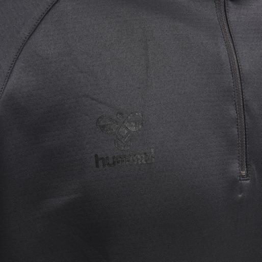 hmlACTION HALF ZIP SWEAT, BLACK/ASPHALT, packshot