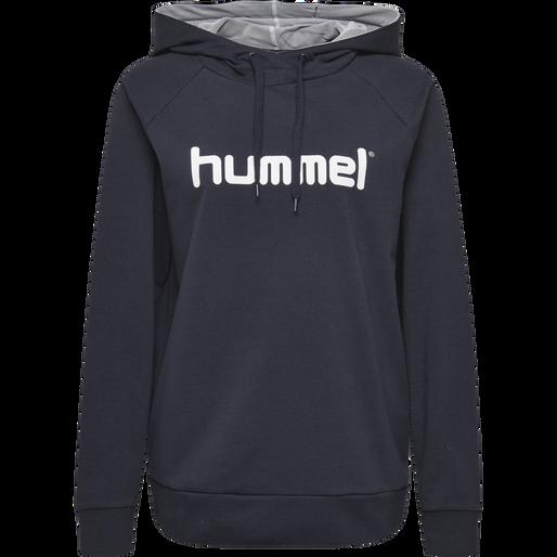 HUMMEL GO COTTON LOGO HOODIE WOMAN, MARINE, packshot