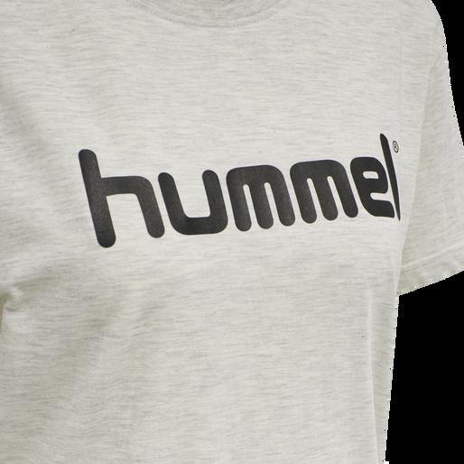 HUMMEL GO COTTON LOGO T-SHIRT WOMAN S/S, EGRET MELANGE, packshot
