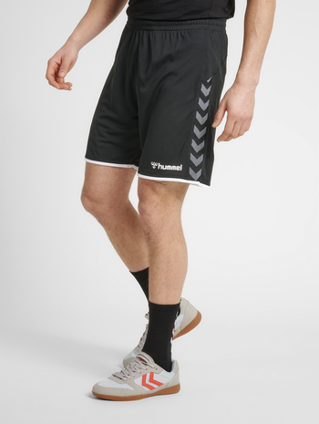 hmlAUTHENTIC POLY SHORTS, BLACK/WHITE, model