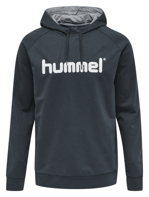 HUMMEL GO COTTON LOGO HOODIE, INDIA INK, packshot