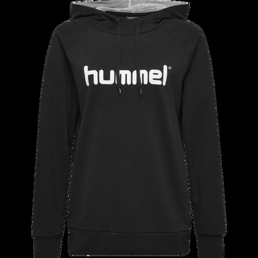 HUMMEL GO COTTON LOGO HOODIE WOMAN, BLACK, packshot