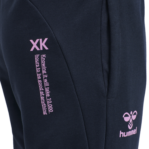 hmlACTION COTTON PANTS KIDS, BLACK IRIS/ORCHID, packshot