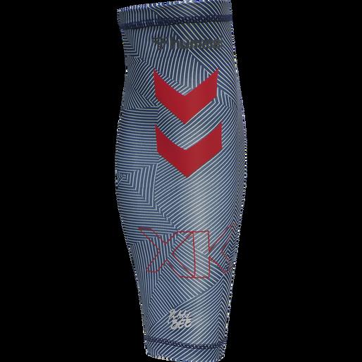 hmlPRO XK COMPRESS LEG SLEEVE, CAVIAR/MARSHMALLOW, packshot
