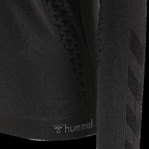hmlCI SEAMLESS T-SHIRT L/S, BLACK MELANGE, packshot
