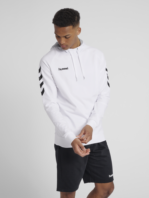HUMMEL GO COTTON HOODIE, WHITE, model
