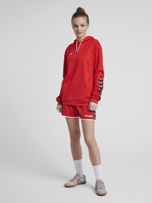 hmlAUTHENTIC POLY HOODIE WOMAN, TRUE RED, model