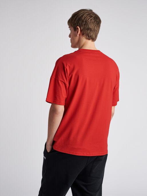 hmlBEACH BREAK T-SHIRT S/S, TRUE RED, model