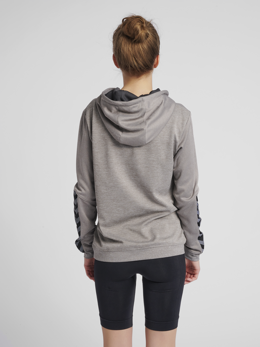 hmlAUTHENTIC POLY HOODIE WOMAN, GREY MELANGE, model