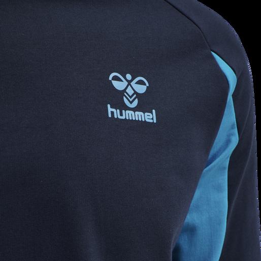 hmlACTION COTTON SWEATSHIRT, BLACK IRIS/ATOMIC BLUE, packshot