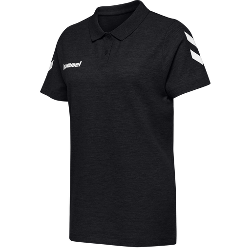 HUMMEL GO COTTON POLO WOMAN, BLACK, packshot