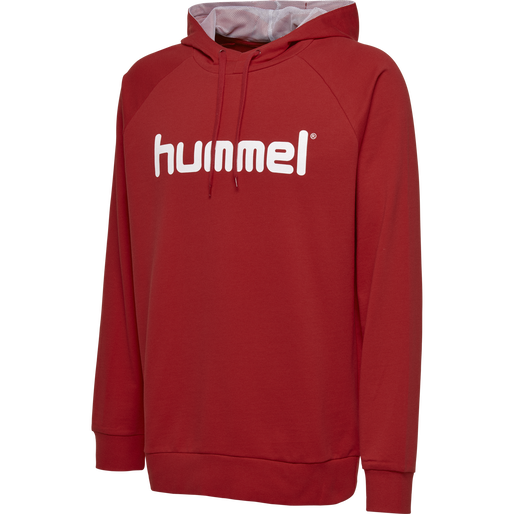 HUMMEL GO KIDS COTTON LOGO HOODIE, TRUE RED, packshot