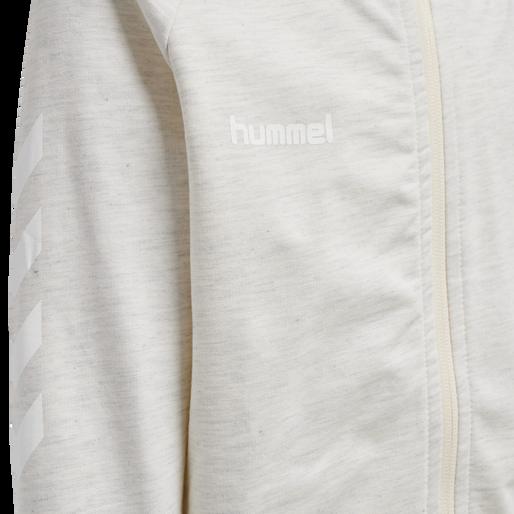 HUMMEL GO KIDS COTTON ZIP HOODIE, EGRET MELANGE, packshot
