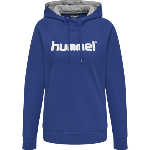 HUMMEL GO COTTON LOGO HOODIE WOMAN, TRUE BLUE, packshot