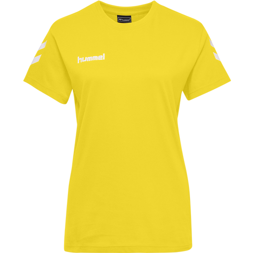 HUMMEL GO COTTON T-SHIRT WOMAN S/S, SPORTS YELLOW, packshot