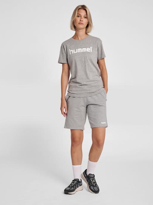 HUMMEL GO COTTON LOGO T-SHIRT WOMAN S/S, GREY MELANGE, model