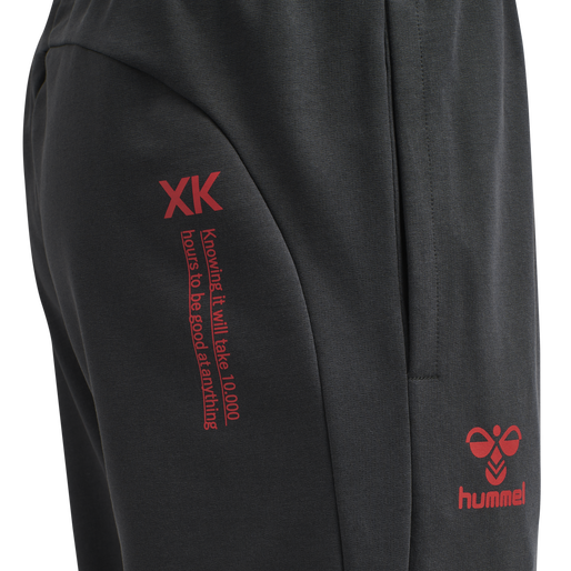 hmlACTION COTTON PANTS, EBONY/FLAME SCARLET, packshot