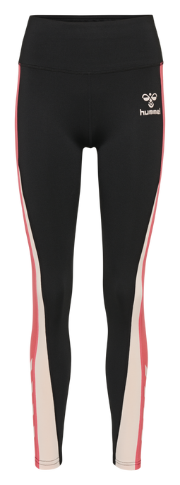 hmlOLIZA HIGH WAIST TIGHTS, CLOUD PINK/BLACK, packshot