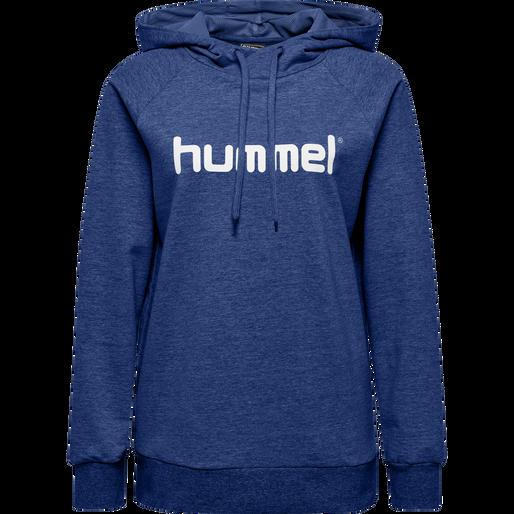 HUMMEL GO COTTON LOGO HOODIE WOMAN, TRUE BLUE, packshot
