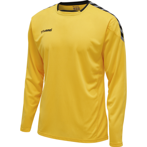 hmlAUTHENTIC POLY JERSEY L/S, SPORTS YELLOW/BLACK, packshot