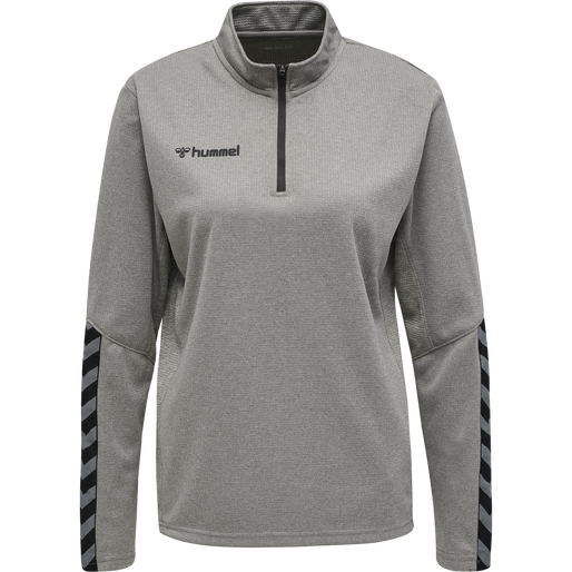 hmlAUTHENTIC HALF ZIP SWEATSHIRT WOMAN, GREY MELANGE, packshot