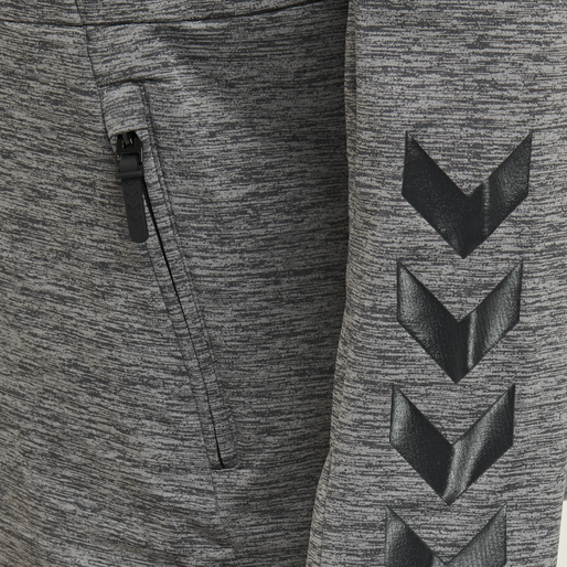 hmlASTON ZIP HOODIE, DARK GREY MELANGE, packshot