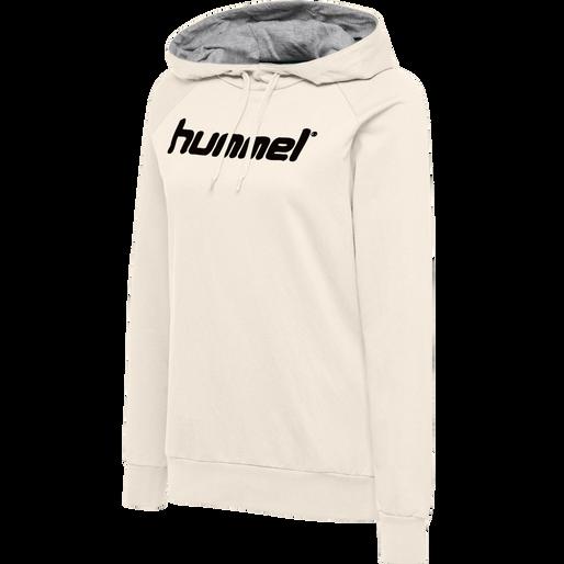 HUMMEL GO COTTON LOGO HOODIE WOMAN, EGRET MELANGE, packshot