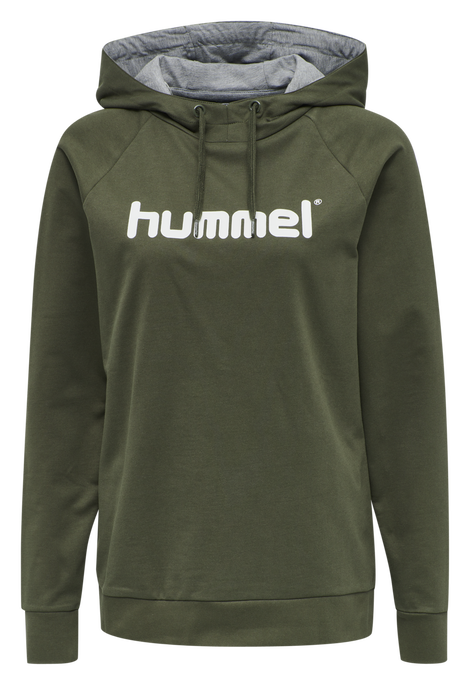 HUMMEL GO COTTON LOGO HOODIE WOMAN, GRAPE LEAF, packshot