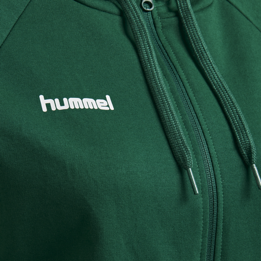 HUMMEL GO COTTON ZIP HOODIE WOMAN, EVERGREEN, packshot