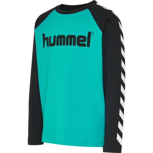 hmlBOYS T-SHIRT LS, BLACK/LAKE BLUE, packshot