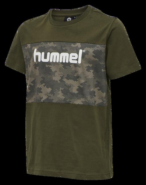 HMLJANUS T-SHIRT S/S TEE, CAMOUFLAGE KHAKI, packshot