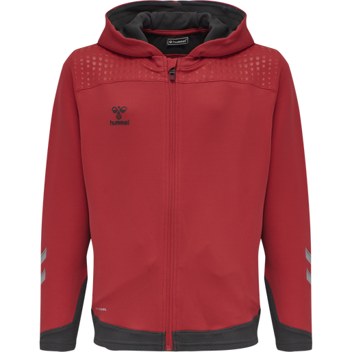 hmlLEAD ZIP POLY HOODIE KIDS , TRUE RED, packshot