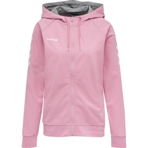 HUMMEL GO COTTON ZIP HOODIE WOMAN, COTTON CANDY, packshot