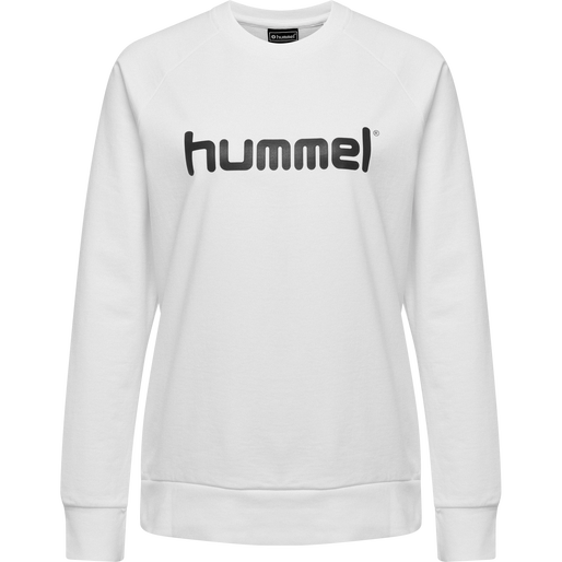 HUMMEL GO COTTON LOGO SWEATSHIRT WOMAN, WHITE, packshot