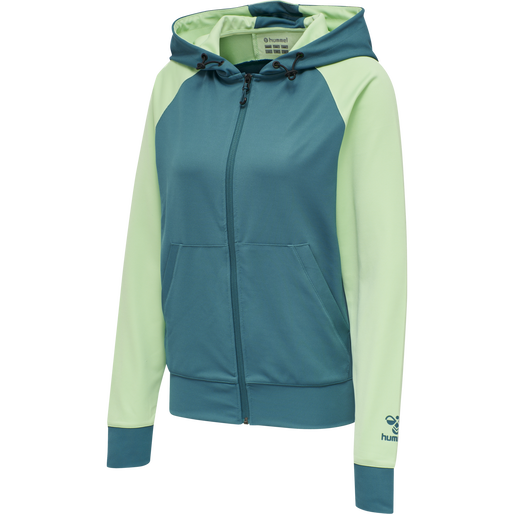 hmlACTION ZIP HOODIE WOMAN, BLUE CORAL/GREEN ASH, packshot
