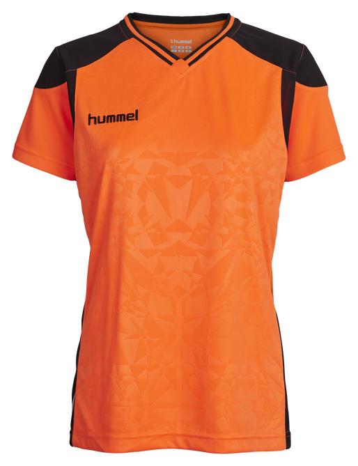 HUMMEL SIRIUS SS JERSEY WOMEN, SHOCKING ORANGE/BLACK, packshot
