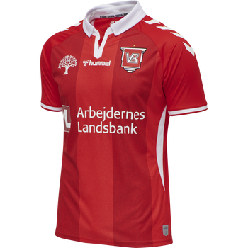 VEJLE BK 20/21 HOME JERSEY S/S KIDS, FIERY RED/ WHITE W/SPONSOR, packshot