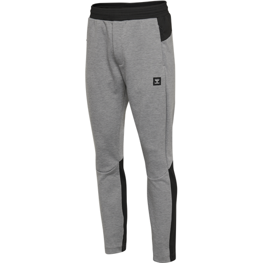 hmlTROPPER TAPERED PANTS, GREY MELANGE, packshot